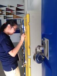 Stalking, knocking, and talking to the locking of lockers.
